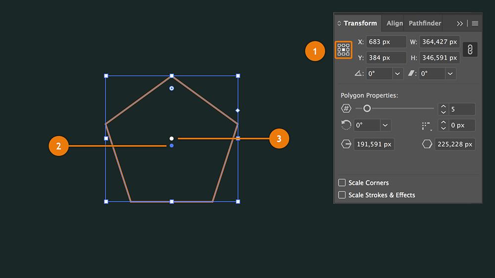 centro real del polígono vs centro con el que trabaja Illustrator