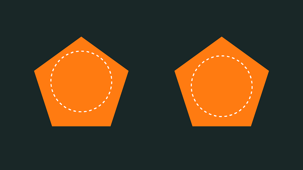 centro de un poligono con respecto a una circunferencia